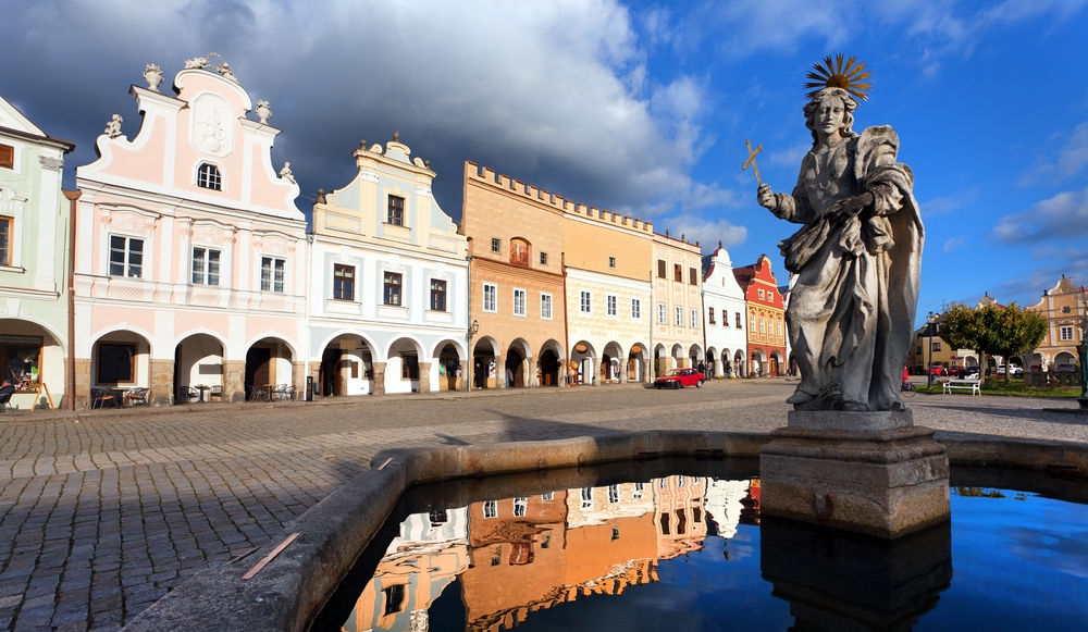 view of statue of st. Margaret on Telc or Teltsch town square, Czech republic. World heritage site by unesco